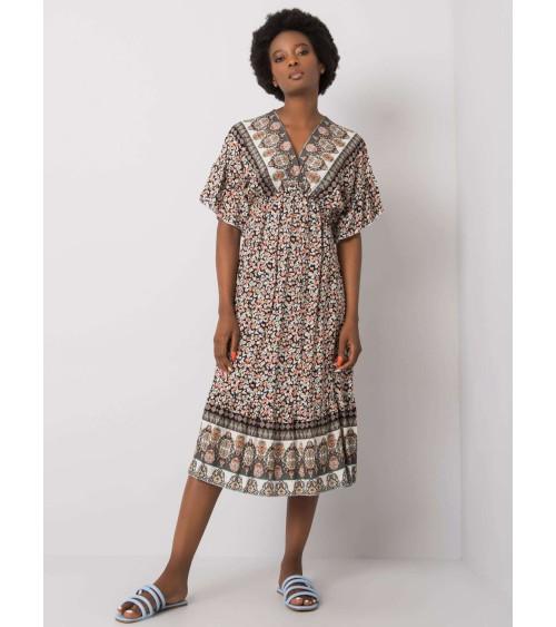 Sukienka z marszczeniami w talii CS03 Grey - Colett